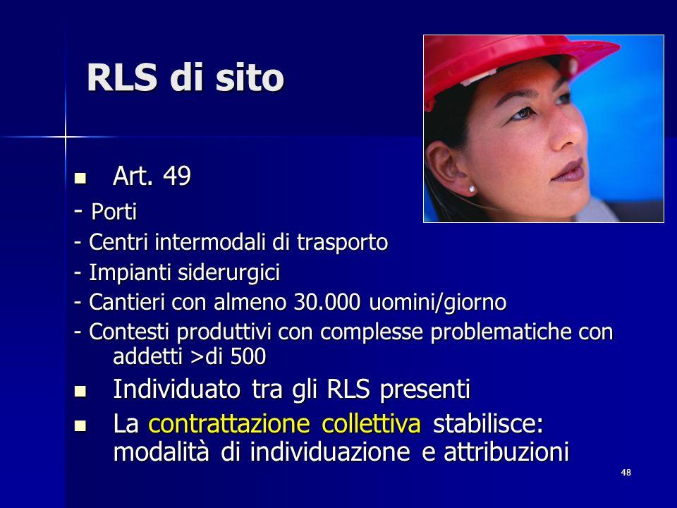 RLS di sito Art. 49 - Porti Individuato tra gli RLS presenti