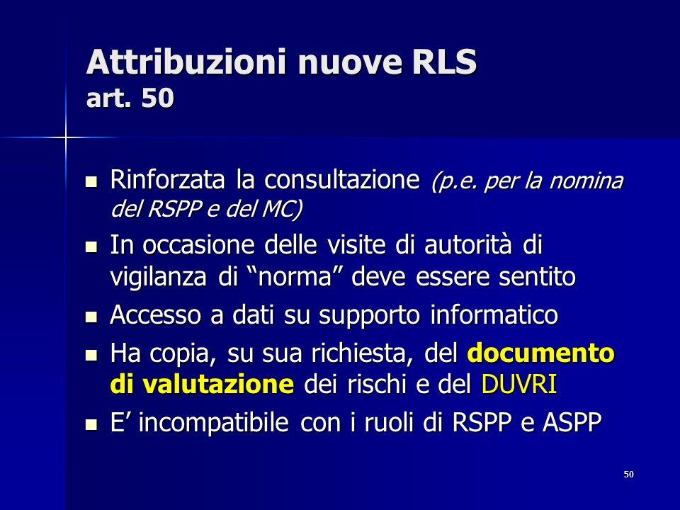 Attribuzioni nuove RLS art. 50