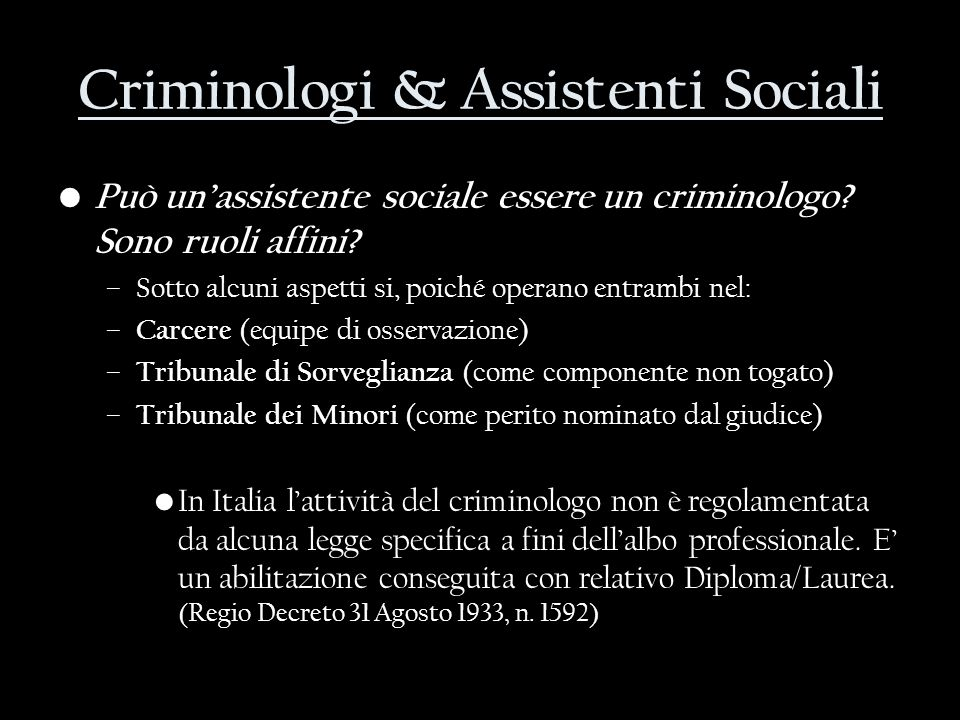 Criminologi & Assistenti Sociali