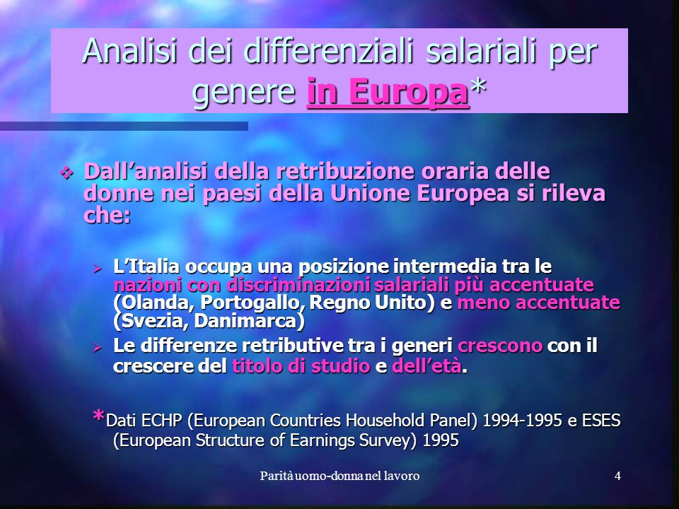 Analisi dei differenziali salariali per genere in Europa*