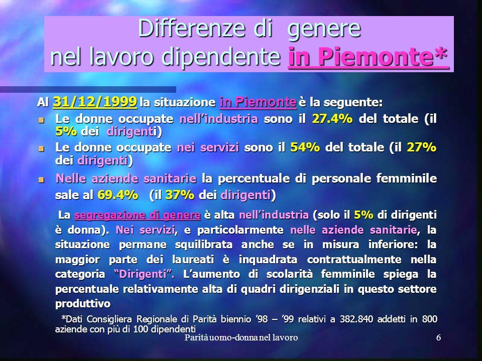 Differenze di genere nel lavoro dipendente in Piemonte*