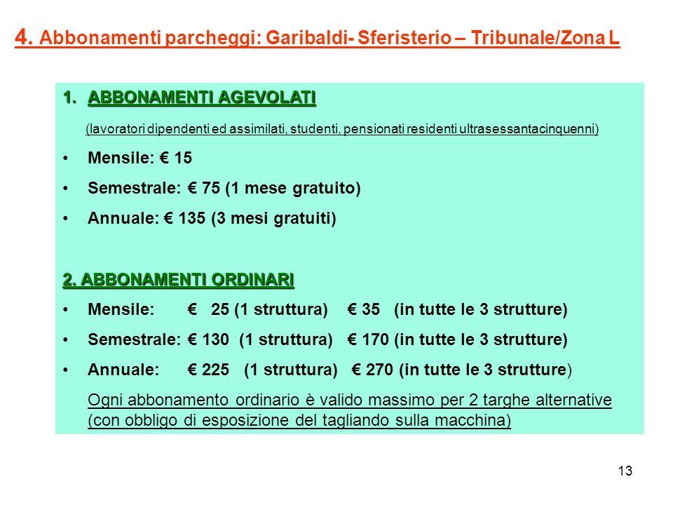 4. Abbonamenti parcheggi: Garibaldi- Sferisterio – Tribunale/Zona L