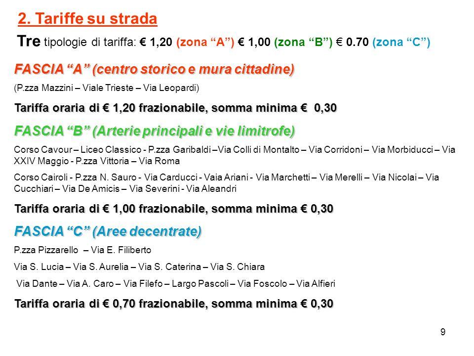 2. Tariffe su strada FASCIA A (centro storico e mura cittadine)