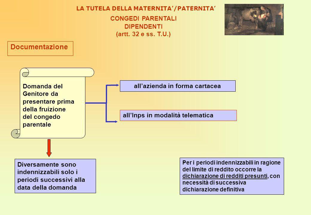 Documentazione CONGEDI PARENTALI DIPENDENTI (artt. 32 e ss. T.U.)