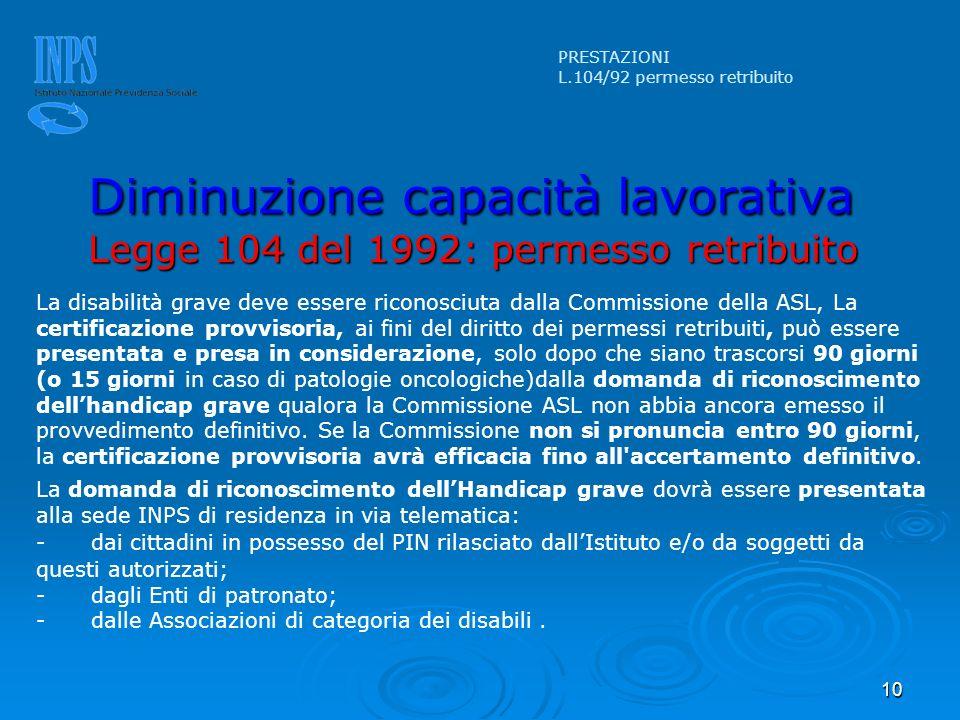 PRESTAZIONI L.104/92 permesso retribuito. Diminuzione capacità lavorativa Legge 104 del 1992: permesso retribuito.
