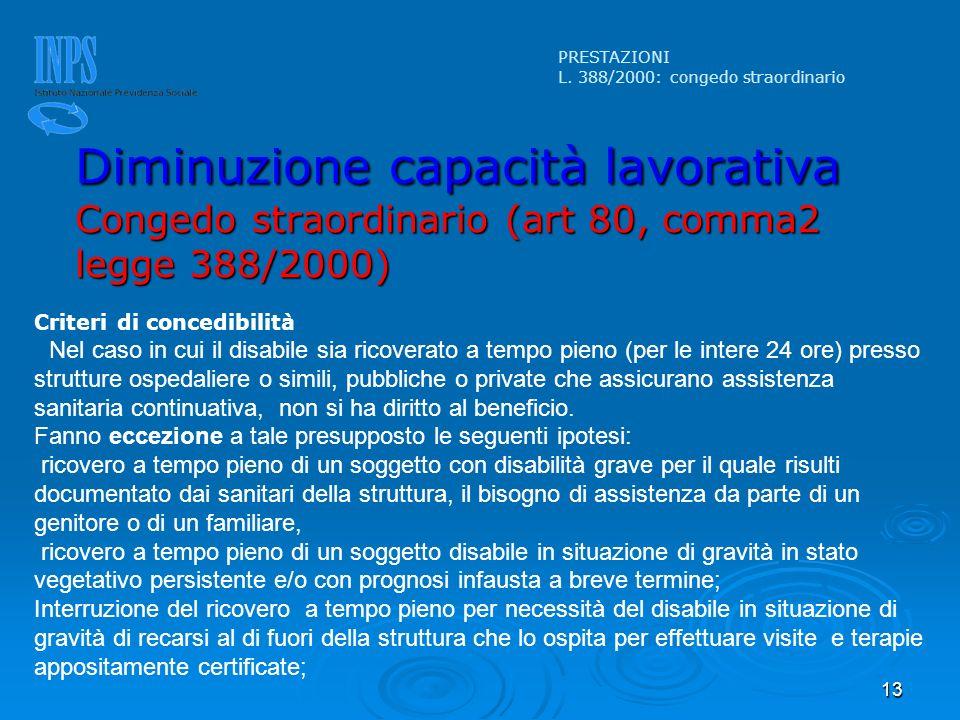 PRESTAZIONI L. 388/2000: congedo straordinario. Diminuzione capacità lavorativa Congedo straordinario (art 80, comma2 legge 388/2000)