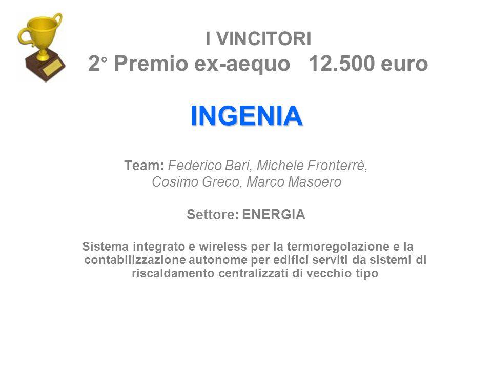 I VINCITORI 2° Premio ex-aequo 12.500 euro