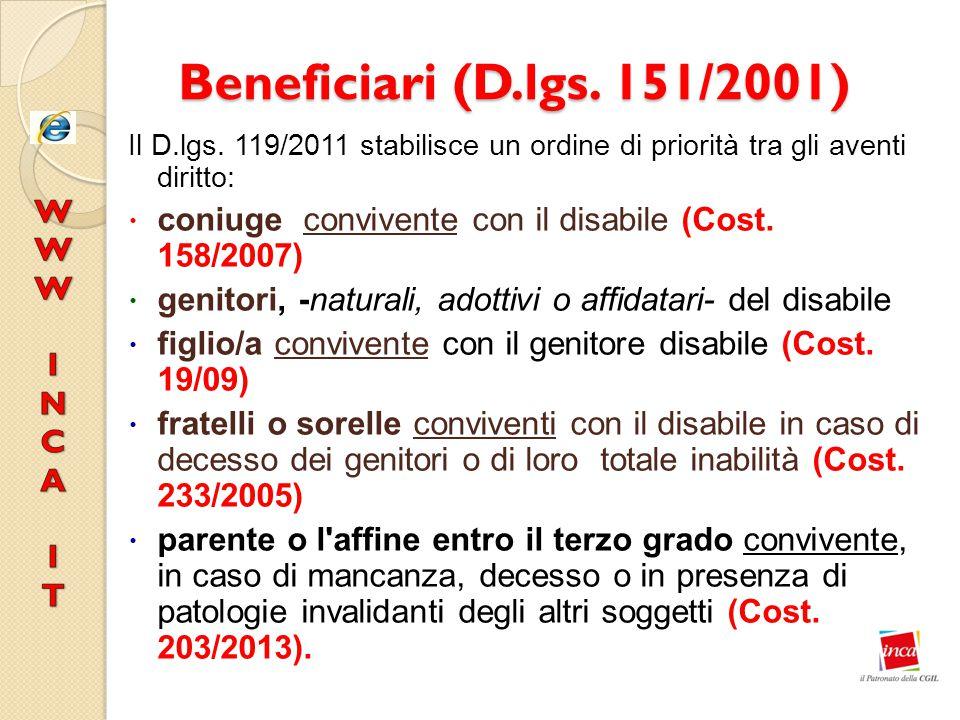 Beneficiari (D.lgs. 151/2001) Il D.lgs. 119/2011 stabilisce un ordine di priorità tra gli aventi diritto: