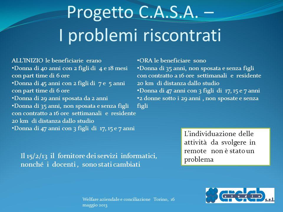 Progetto C.A.S.A. – I problemi riscontrati
