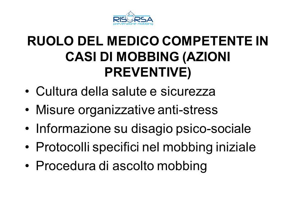 RUOLO DEL MEDICO COMPETENTE IN CASI DI MOBBING (AZIONI PREVENTIVE)