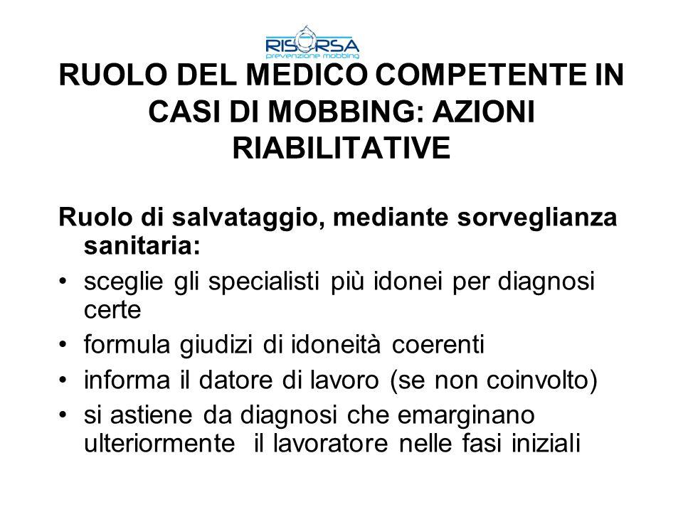RUOLO DEL MEDICO COMPETENTE IN CASI DI MOBBING: AZIONI RIABILITATIVE
