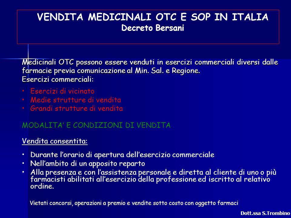 VENDITA MEDICINALI OTC E SOP IN ITALIA Decreto Bersani