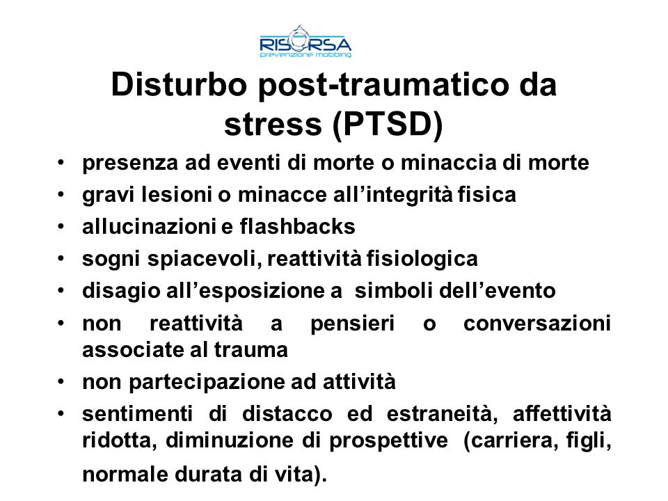 Disturbo post-traumatico da stress (PTSD)