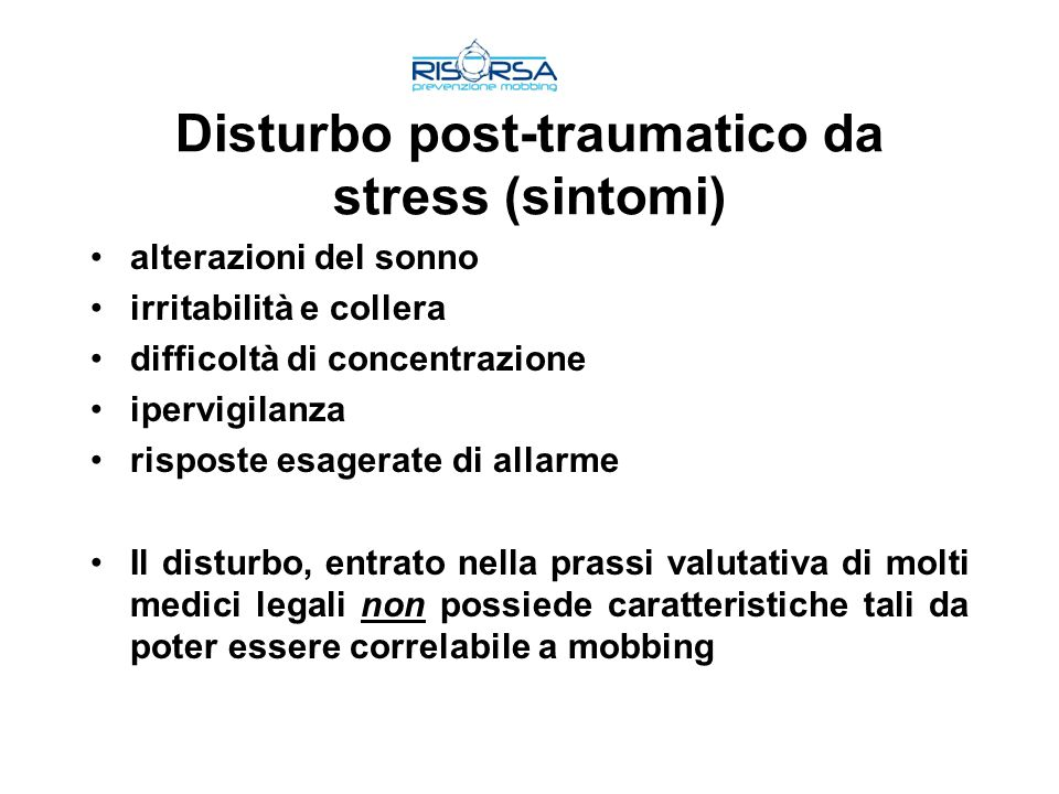 Disturbo post-traumatico da stress (sintomi)