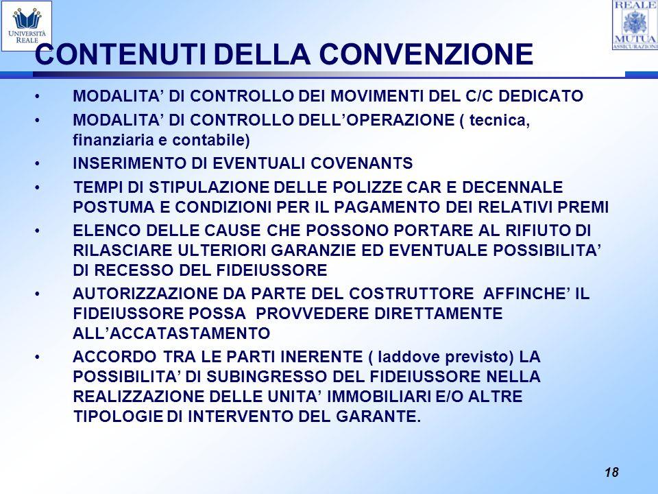 CONTENUTI DELLA CONVENZIONE