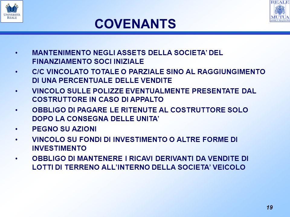 COVENANTS MANTENIMENTO NEGLI ASSETS DELLA SOCIETA' DEL FINANZIAMENTO SOCI INIZIALE.