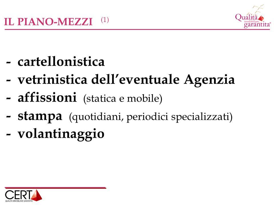 - vetrinistica dell'eventuale Agenzia - affissioni (statica e mobile)