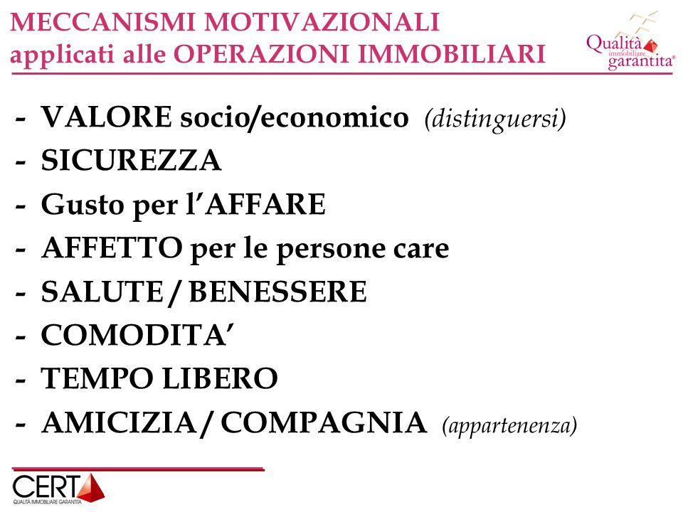 - VALORE socio/economico (distinguersi) - SICUREZZA