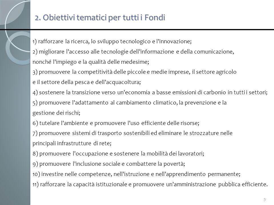 2. Obiettivi tematici per tutti i Fondi