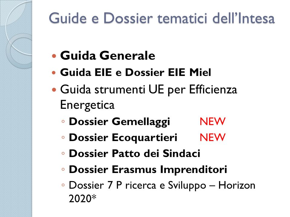 Guide e Dossier tematici dell'Intesa