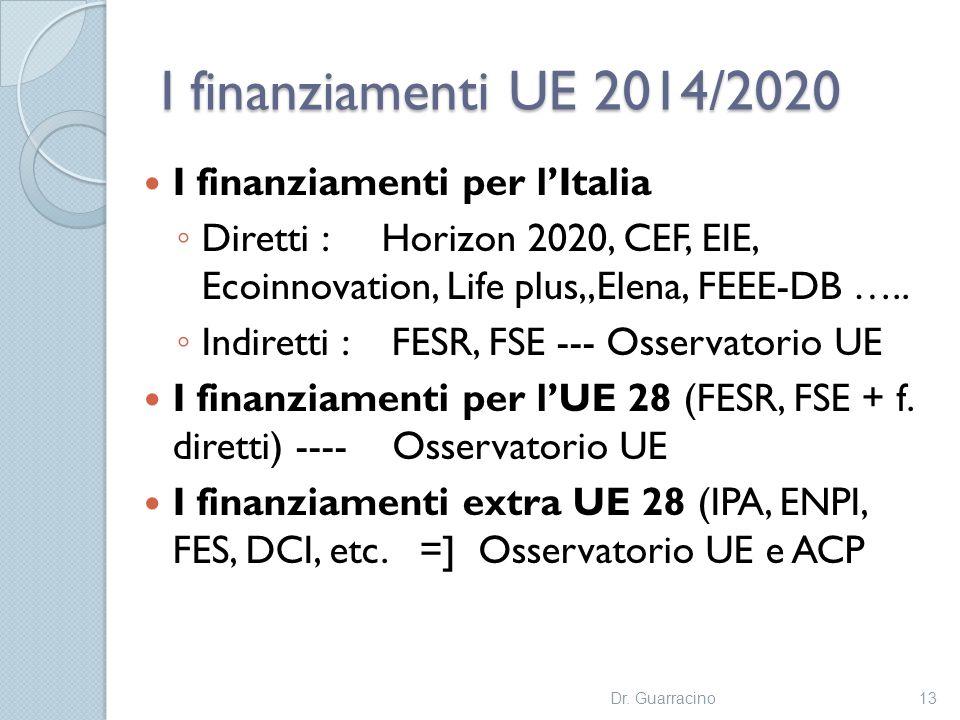 I finanziamenti UE 2014/2020 I finanziamenti per l'Italia