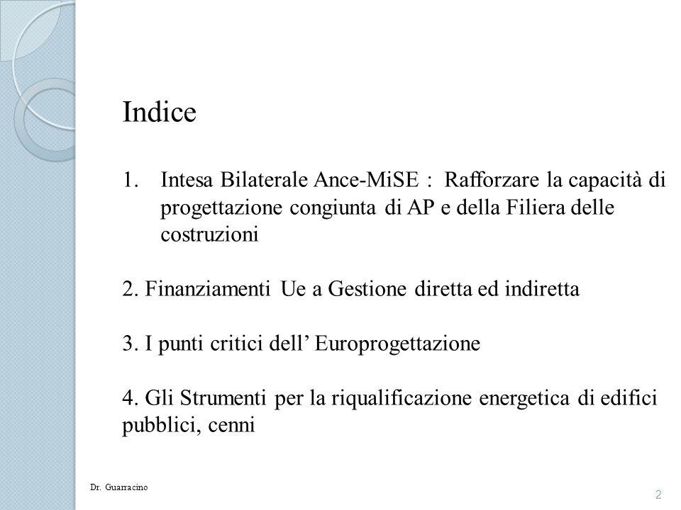 Indice Intesa Bilaterale Ance-MiSE : Rafforzare la capacità di progettazione congiunta di AP e della Filiera delle costruzioni.