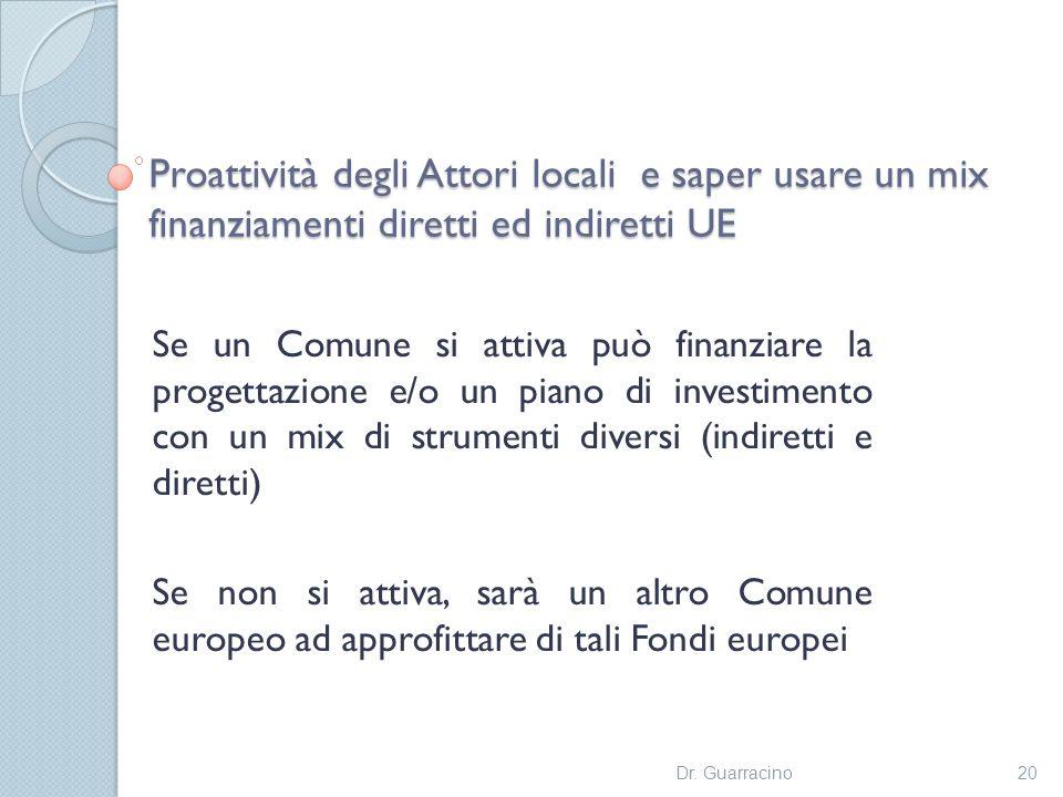 Proattività degli Attori locali e saper usare un mix finanziamenti diretti ed indiretti UE