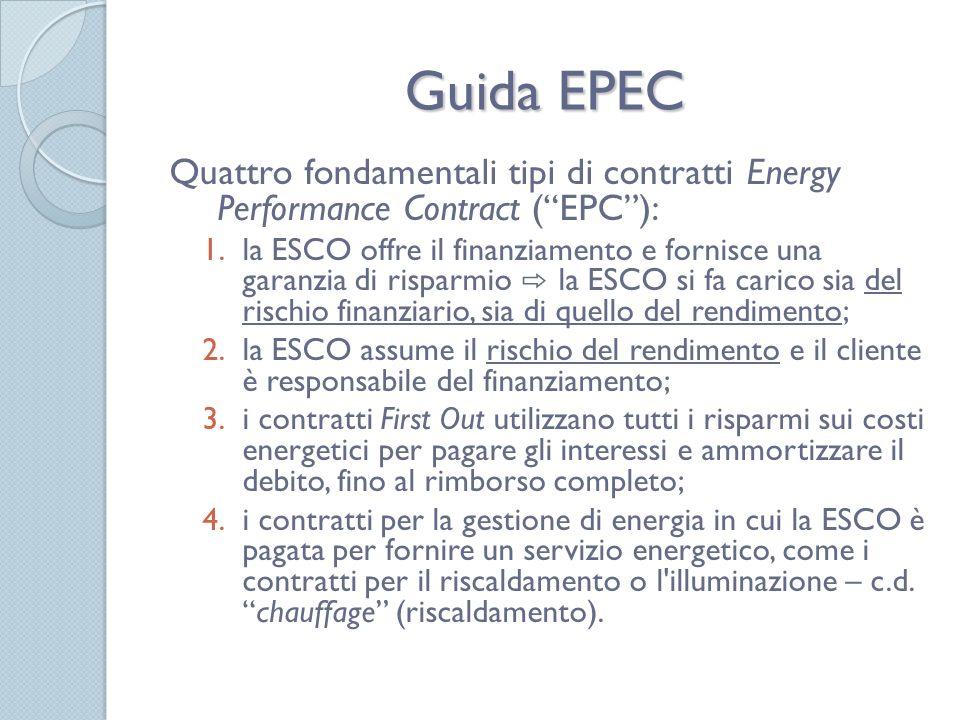 Guida EPEC Quattro fondamentali tipi di contratti Energy Performance Contract ( EPC ):