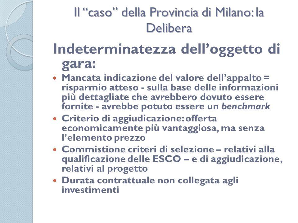 Il caso della Provincia di Milano: la Delibera