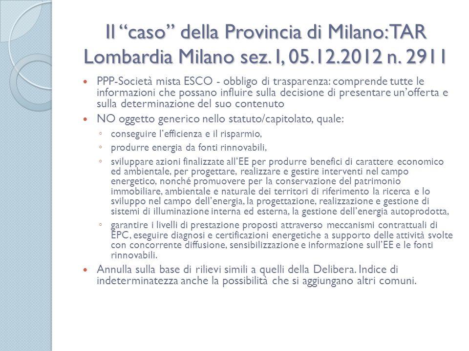 Il caso della Provincia di Milano: TAR Lombardia Milano sez. I, 05