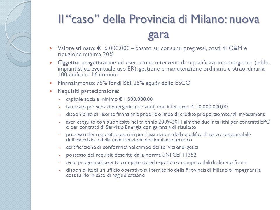 Il caso della Provincia di Milano: nuova gara