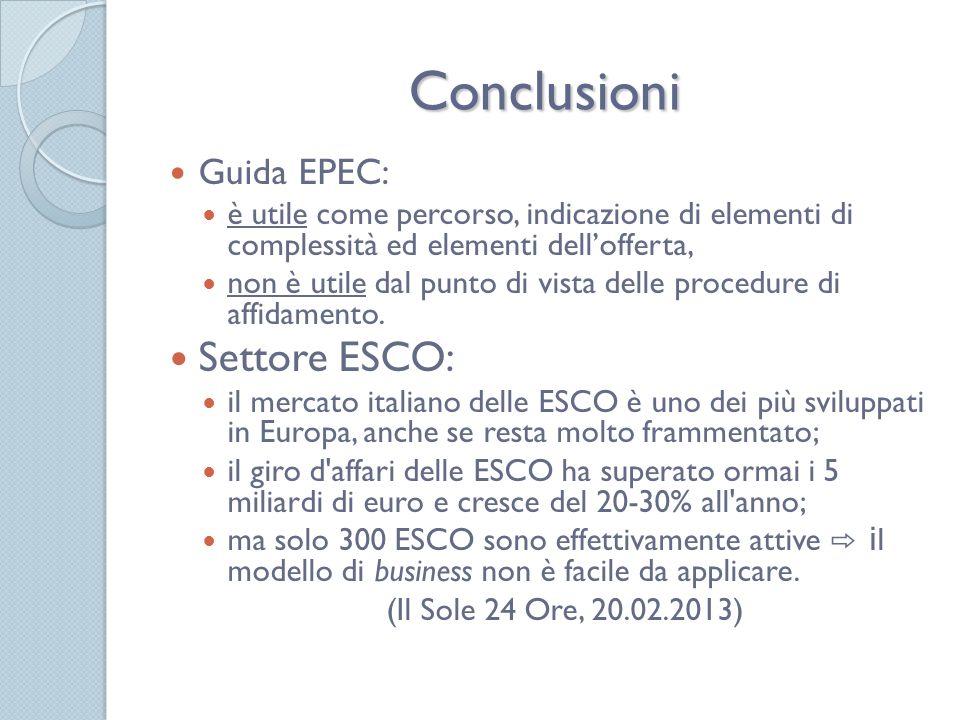 Conclusioni Settore ESCO: Guida EPEC: