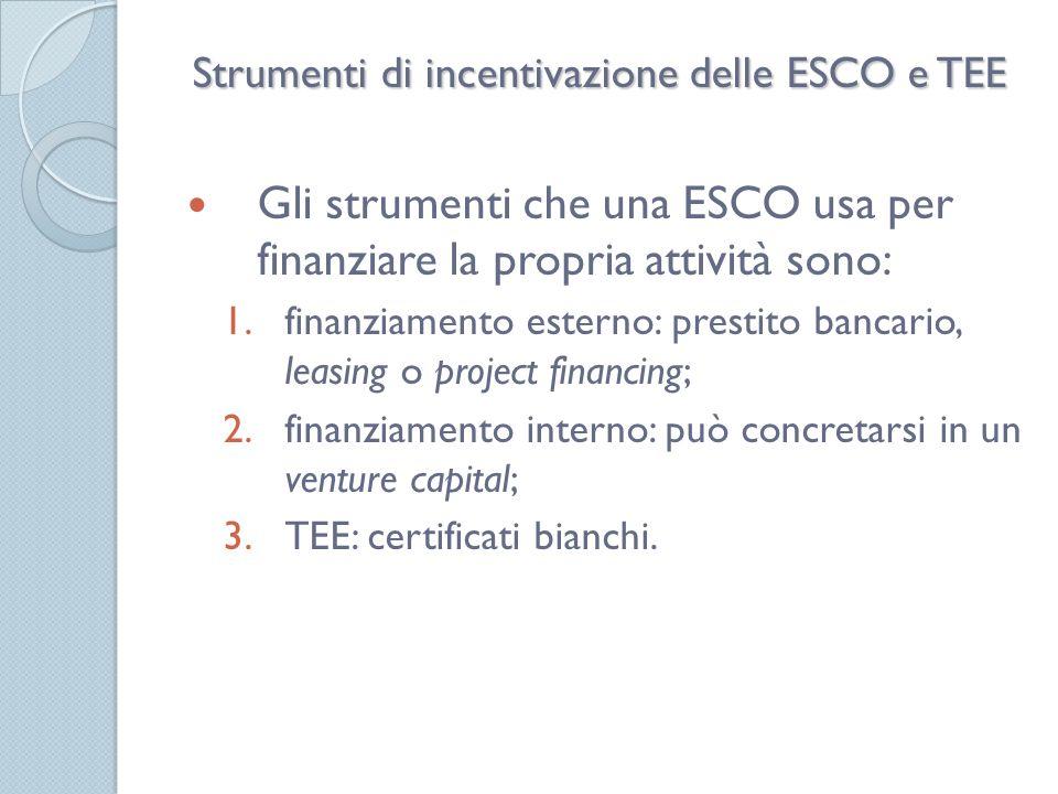 Strumenti di incentivazione delle ESCO e TEE