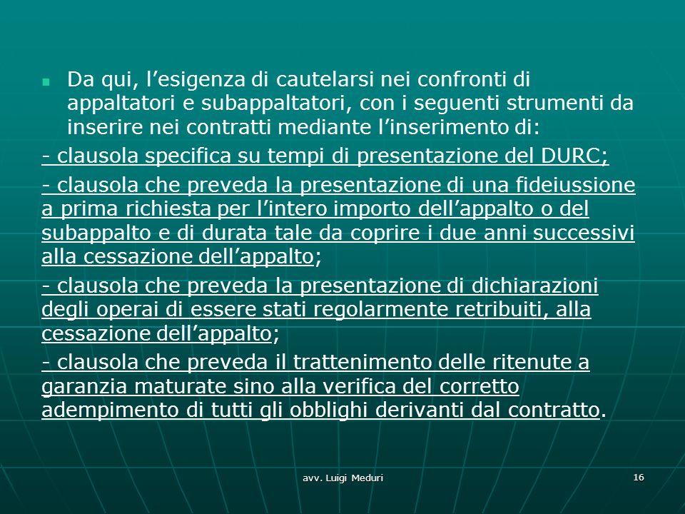 - clausola specifica su tempi di presentazione del DURC;