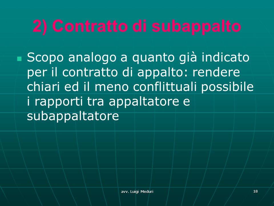 2) Contratto di subappalto