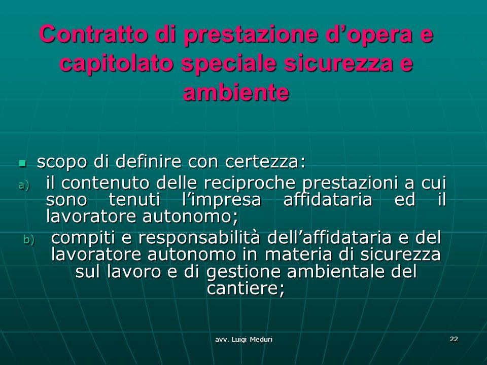 Contratto di prestazione d'opera e capitolato speciale sicurezza e ambiente