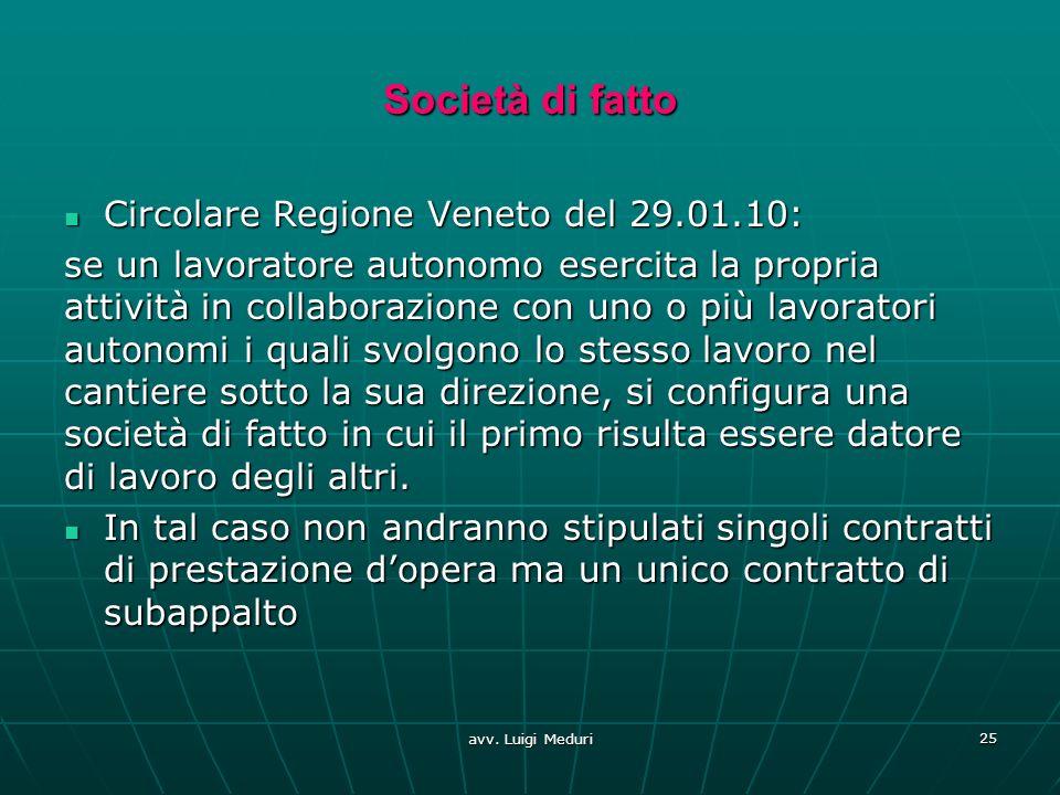 Società di fatto Circolare Regione Veneto del 29.01.10: