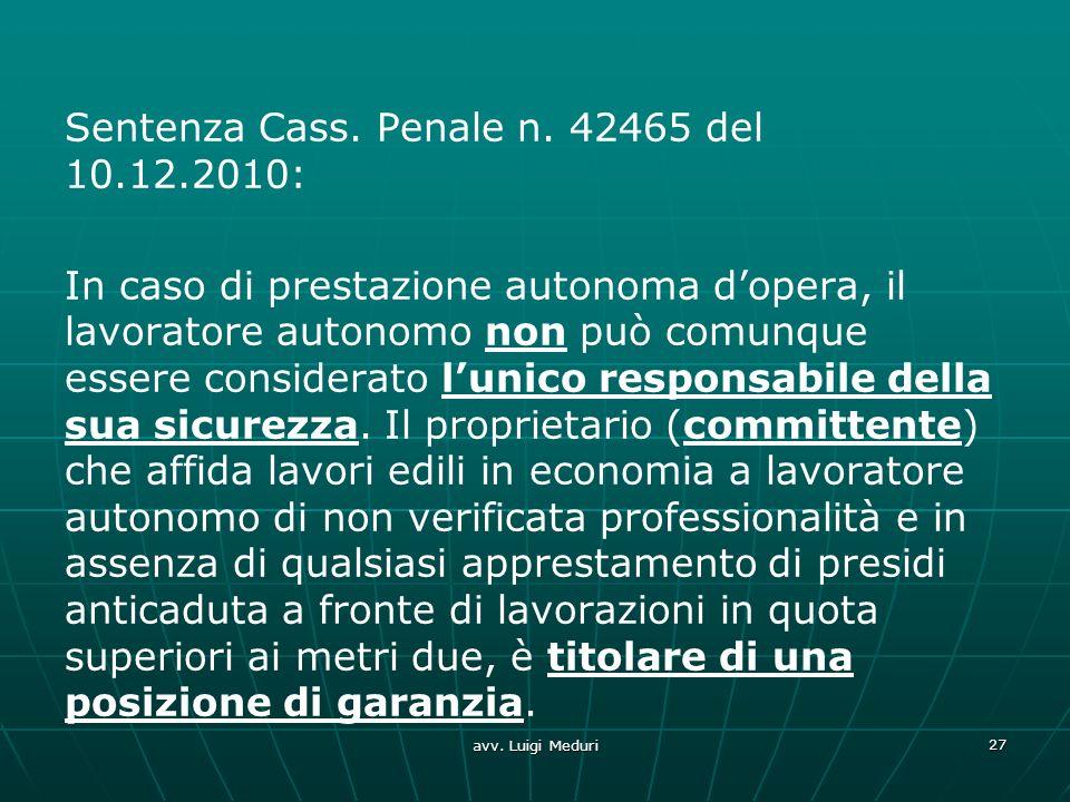 Sentenza Cass. Penale n. 42465 del 10. 12