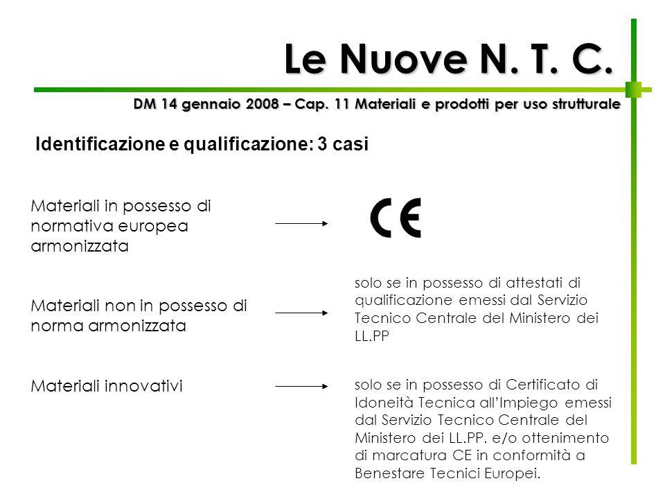 Le Nuove N. T. C. Identificazione e qualificazione: 3 casi
