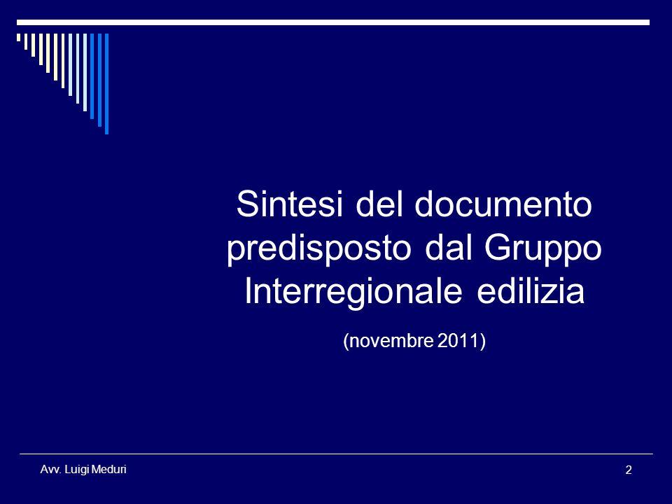 Sintesi del documento predisposto dal Gruppo Interregionale edilizia (novembre 2011)