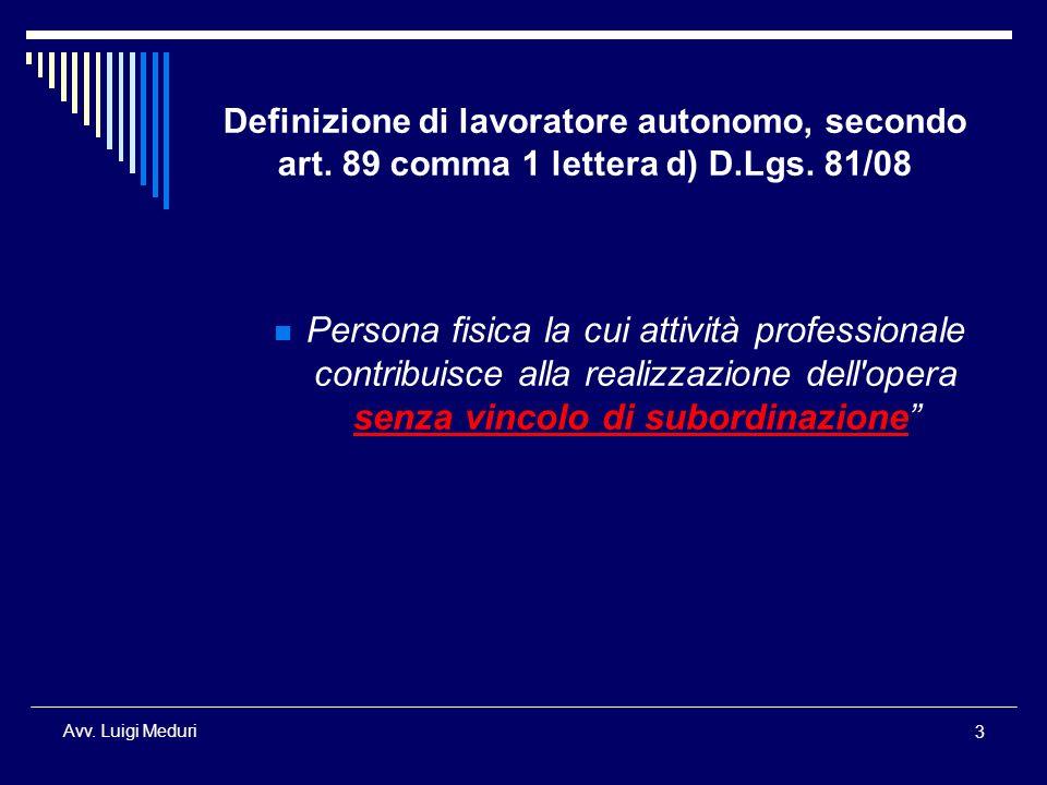 Definizione di lavoratore autonomo, secondo art