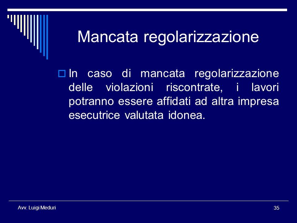 Mancata regolarizzazione