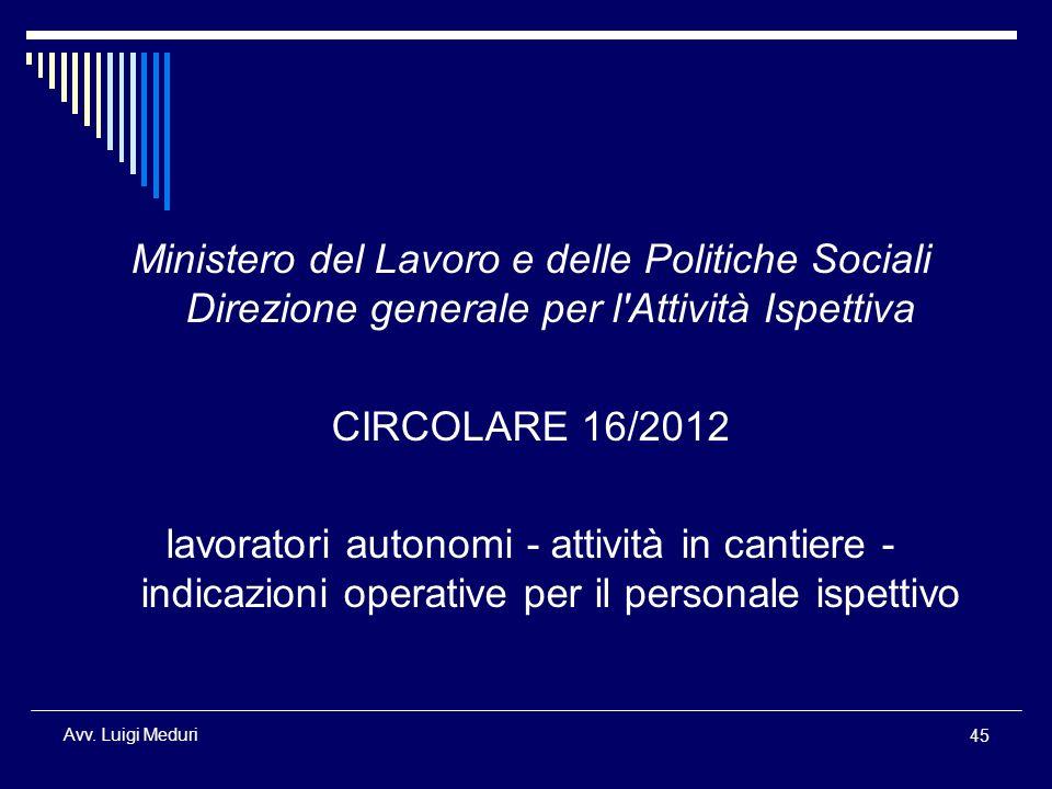 Ministero del Lavoro e delle Politiche Sociali Direzione generale per l Attività Ispettiva