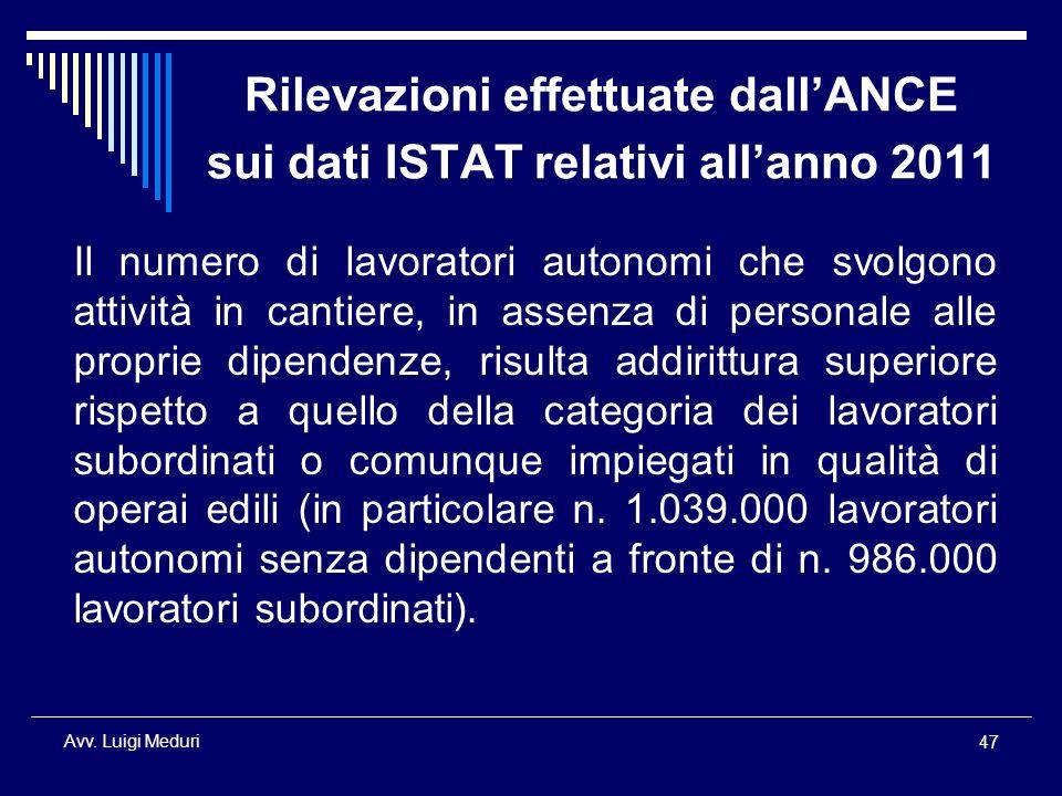 Rilevazioni effettuate dall'ANCE sui dati ISTAT relativi all'anno 2011