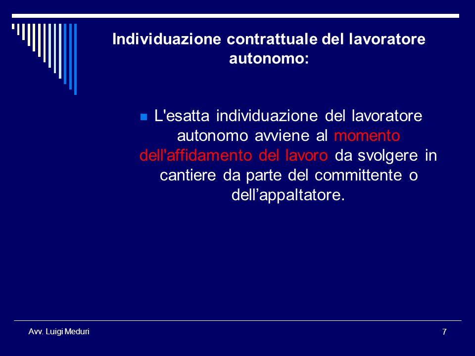 Individuazione contrattuale del lavoratore autonomo:
