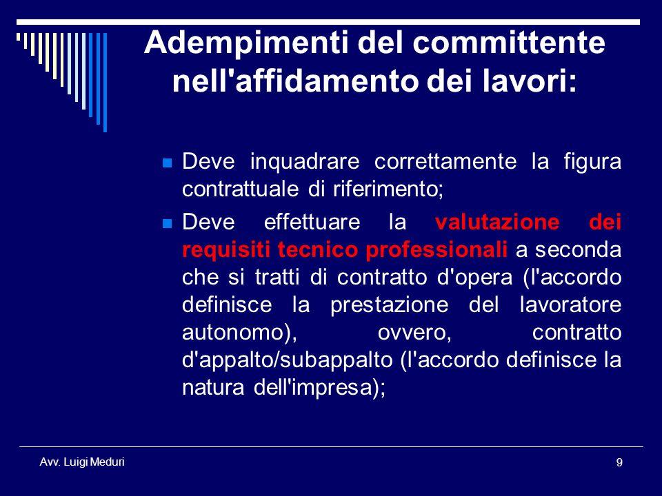 Adempimenti del committente nell affidamento dei lavori:
