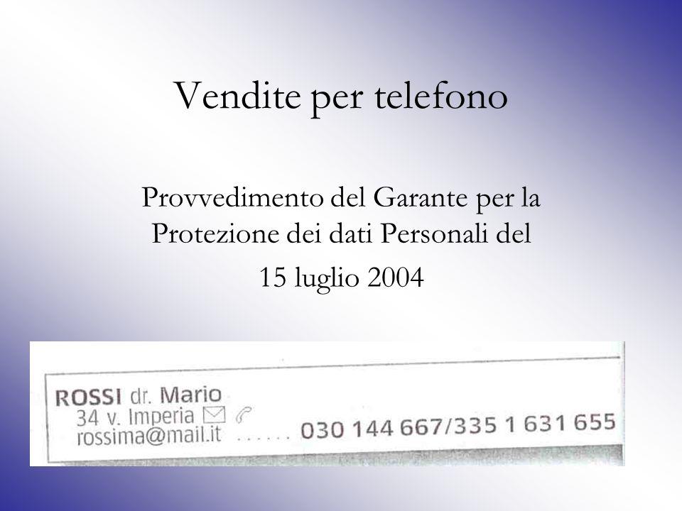 Provvedimento del Garante per la Protezione dei dati Personali del