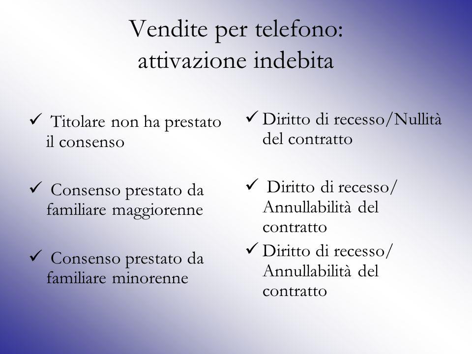 Vendite per telefono: attivazione indebita