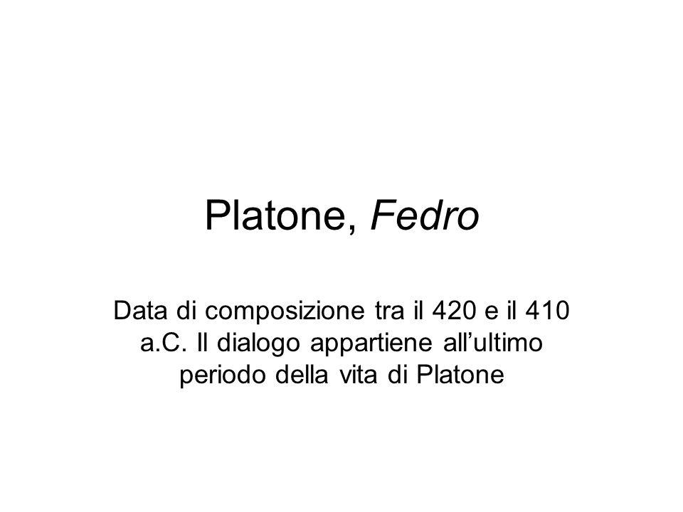 Platone, Fedro Data di composizione tra il 420 e il 410 a.C.