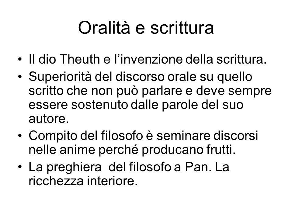 Oralità e scrittura Il dio Theuth e l'invenzione della scrittura.